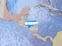 Honduras with flag on globe Royalty Free Stock Image