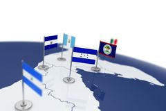 Honduras flag. Country flag with chrome flagpole on the world map with neighbors countries borders. 3d illustration rendering Stock Images