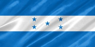 Honduras Flag. With waving on satin texture royalty free illustration