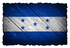Honduras flag. Painted on wooden tag stock photos