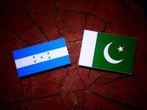 Honduras flag with Pakistan flag on a tree stump isolated. Honduras flag with Pakistan flag on a tree stump royalty free stock photos