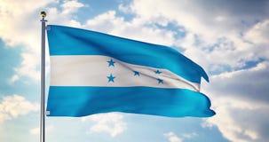 Honduras flag waving in the wind shows honduran symbol of patriotism - 4k 3d render. Honduras flag waving in the wind shows honduran symbol of patriotism stock footage