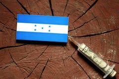 Honduras flagga på en stubbe med injektionssprutan som injicerar pengar Arkivbild