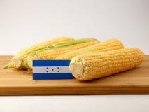 Honduras flagga på en träpanel med havre som isoleras på vita lodisar Royaltyfri Foto