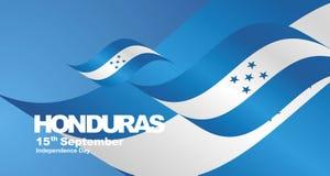 Honduras Independence Day flag ribbon landscape background. National symbol landmark banner vector royalty free illustration