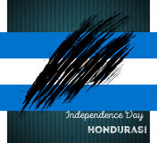 Honduras Independence Day Patriotic Design. Expressive Brush Stroke in National Flag Colors on dark striped background. Happy Independence Day Honduras Vector Royalty Free Stock Photography