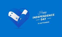 Honduras Independence Day. 15 September. Waving flag in heart. Vector. Stock Image