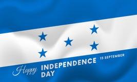 Honduras Independence Day. 15 September. Waving flag. Vector. Royalty Free Stock Photography