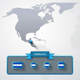 Honduras info card. Honduras on the map of North America with flags Stock Photos