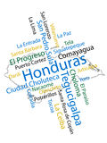 Honduras Map and Cities. Honduran map and words cloud with larger cities vector illustration