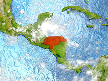 Honduras on map with clouds Stock Photo