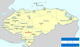 Honduras map - cdr format. Honduras map with departments main cities and flag Royalty Free Stock Photography
