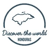 Honduras Map Outline. Vintage Discover the World. Honduras Map Outline. Vintage Discover the World Rubber Stamp with Honduras Map. Hipster Style Nautical Rubber Stock Images