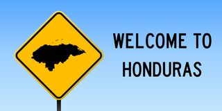 Honduras map on road sign. Wide poster with Honduras country map on yellow rhomb road sign. Vector illustration Royalty Free Stock Images