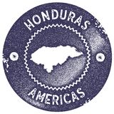 Honduras map vintage stamp. Retro style handmade label, badge or element for travel souvenirs. Deep purple rubber stamp with country map silhouette. Vector Royalty Free Stock Images