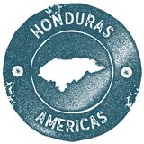 Honduras map vintage stamp. Retro style handmade label. Honduras badge or element for travel souvenirs. Rubber stamp with country map silhouette. Vector Royalty Free Stock Photos