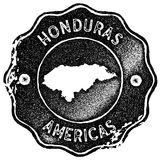 Honduras map vintage stamp. Retro style handmade label, badge or element for travel souvenirs. Black rubber stamp with country map silhouette. Vector Stock Image