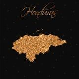 Honduras mapa wypełniająca z złotą błyskotliwością royalty ilustracja