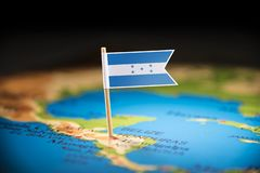 Honduras marked with a flag on the map.  royalty free stock photos