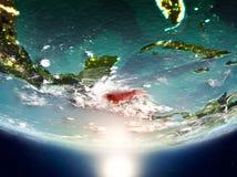 Honduras mit Sonne auf Planet Erde Lizenzfreies Stockbild