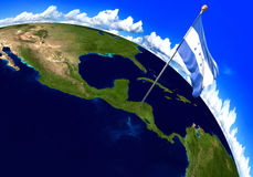 Honduras national flag marking the country location on world map. 3D rendering, parts of this image furnished by NASA Royalty Free Stock Images