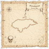 Honduras old pirate map. Sepia engraved template of treasure map. Stylized pirate map on vintage paper Royalty Free Stock Image