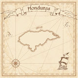 Honduras old treasure map. Sepia engraved template of pirate map. Stylized pirate map on vintage paper Stock Photo