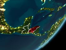 Honduras op nachtaarde Royalty-vrije Stock Fotografie