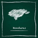 Honduras outline vector map hand drawn with chalk. Honduras outline vector map hand drawn with chalk on a green blackboard. Chalkboard scribble in childish Stock Photos