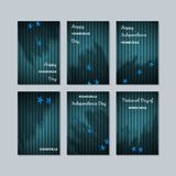 Honduras Patriotic Cards for National Day. Expressive Brush Stroke in National Flag Colors on dark striped background. Honduras Patriotic Vector Greeting Card Stock Image