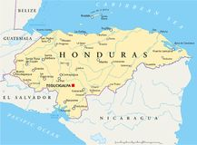 Honduras Political Map. With capital Tegucigalpa, with national borders, most important cities, rivers and lakes. Illustration with English labeling and scaling Royalty Free Stock Photos