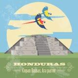 Honduras punkty zwrotni Copan Ruinas, arony papuzi Retro projektujący wizerunek ilustracji