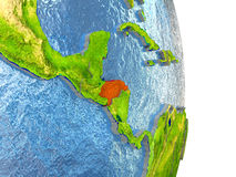 Honduras in red on Earth Stock Photos