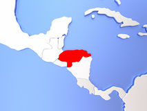 Honduras in red on map Stock Images