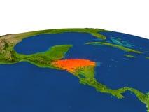 Honduras in red from orbit Stock Image