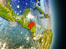 Honduras in red from space Stock Photo