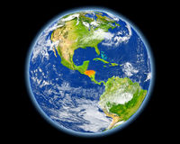 Honduras in red from space Stock Photography
