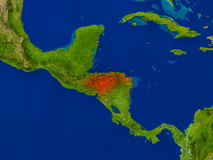 Honduras from space in red Stock Photography