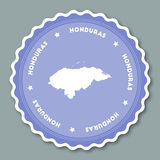 Honduras sticker flat design. Round flat style badges of trendy colors with country map and name. Country sticker vector illustration Royalty Free Stock Photo