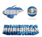 Honduras Symbols. Honduras flag and map in different styles in different textures Stock Photo