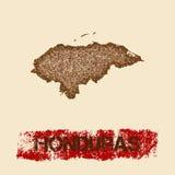 Honduras verontruste kaart Stock Afbeeldingen
