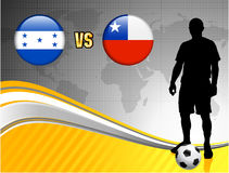 Honduras versus Chile on Abstract World Map Background Stock Photos