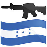 Honduras war. Illustration of the Honduras flag with a rifle on top, to symbolize a war or military coup Stock Photo