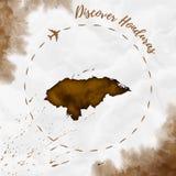 Honduras watercolor map in sepia colors. Stock Photo