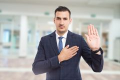 Free Honest Trustworthy Real Estate Agent Making Oath Swear Vow Gesture. Royalty Free Stock Image - 111731196