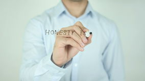Honesty is The Best Policy, Writing On Transparent Screen. Man writing stock video footage