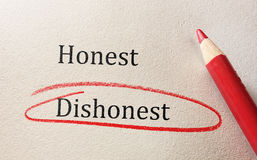 Honesty and Dishonesty Stock Photography