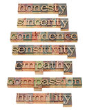 Honesty, empathy, compassion. Honesty, sincerity, confidence, sensitivity, empathy,compassion,humility  - collage of isolated words related to character traits Royalty Free Stock Photos