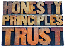 Honesty, principles and trust Royalty Free Stock Photography
