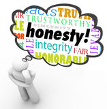 Honesty Sincerity Virtue Words Integrity Thinker Thought Cloud. Honesty virtue words in a thought cloud over a thinking person including terms such as sincerity Royalty Free Stock Images